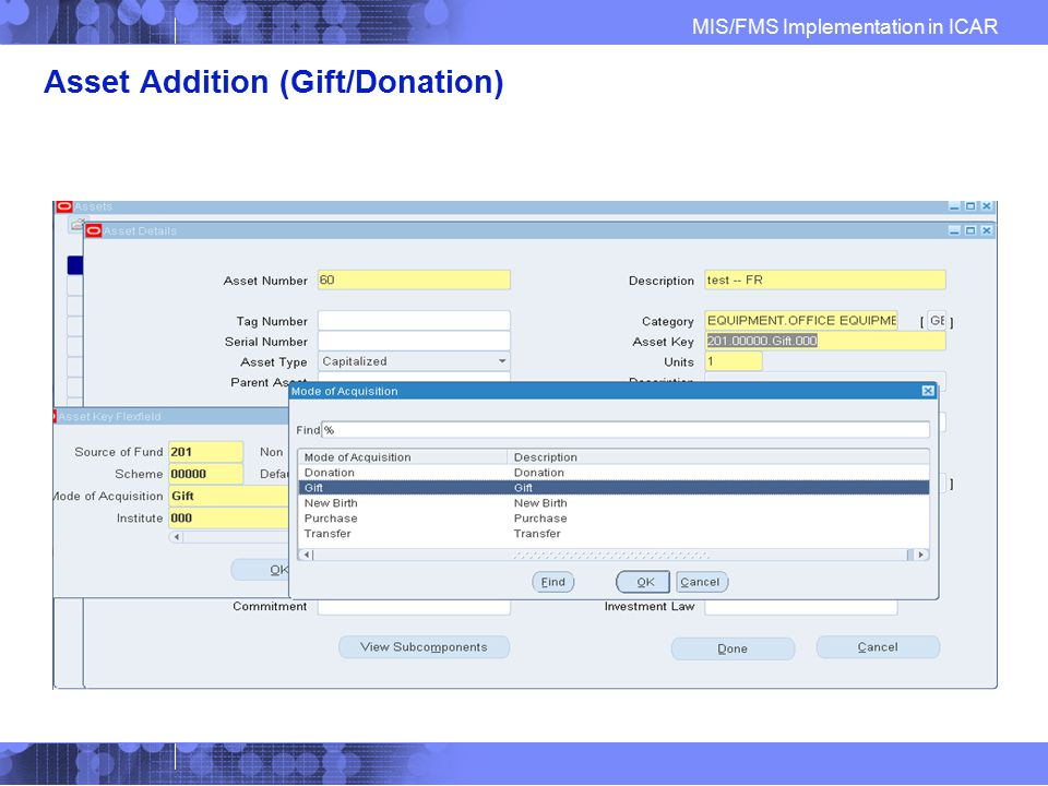 Asset Addition (Gift/Donation)