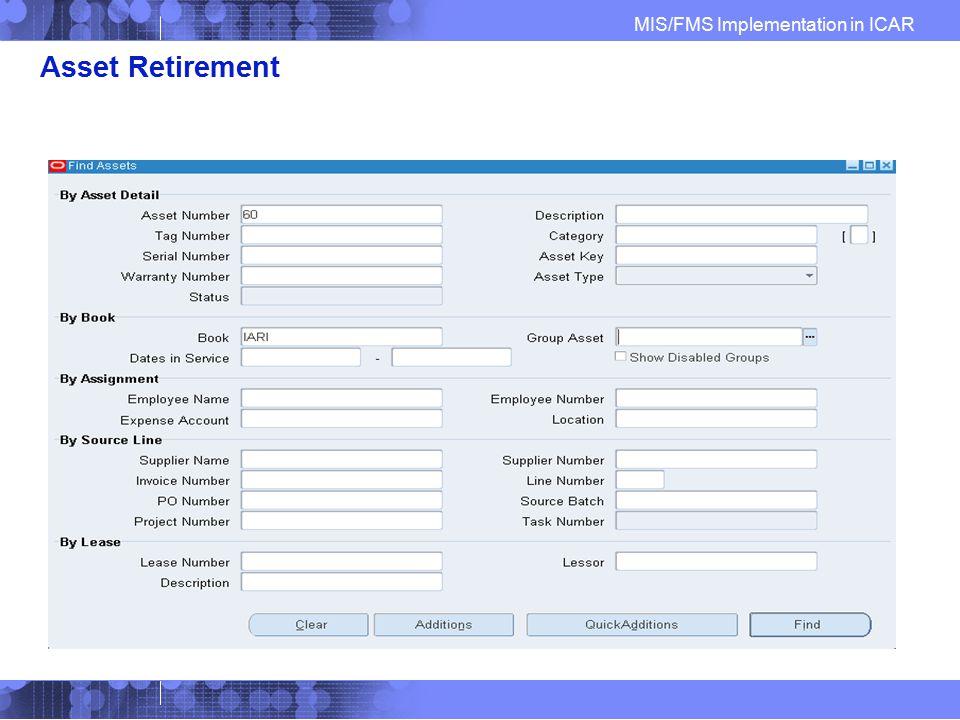 Asset Retirement Find Asset to Retire