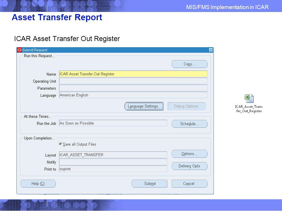 Asset Transfer Report ICAR Asset Transfer Out Register