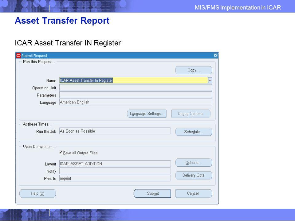 Asset Transfer Report ICAR Asset Transfer IN Register