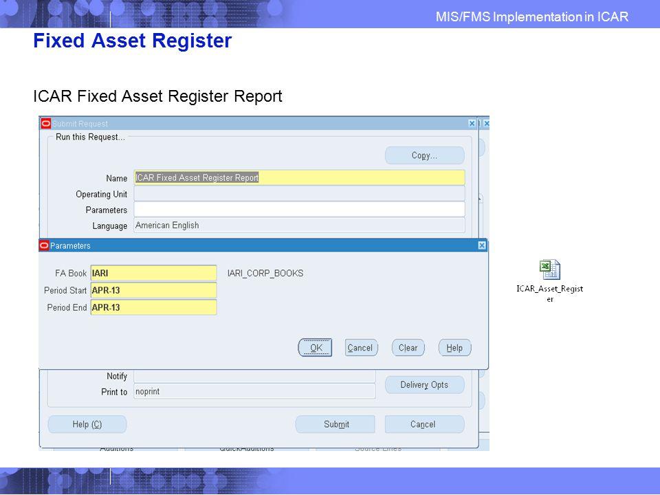 Fixed Asset Register ICAR Fixed Asset Register Report