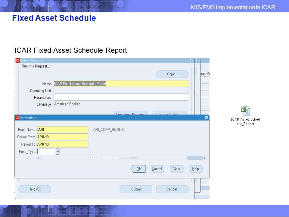 Fixed Asset Schedule ICAR Fixed Asset Schedule Report