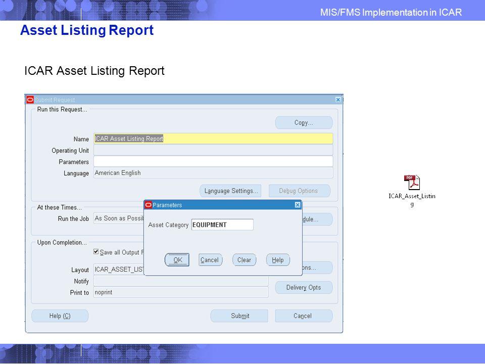 Asset Listing Report ICAR Asset Listing Report