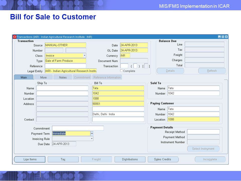 Bill for Sale to Customer