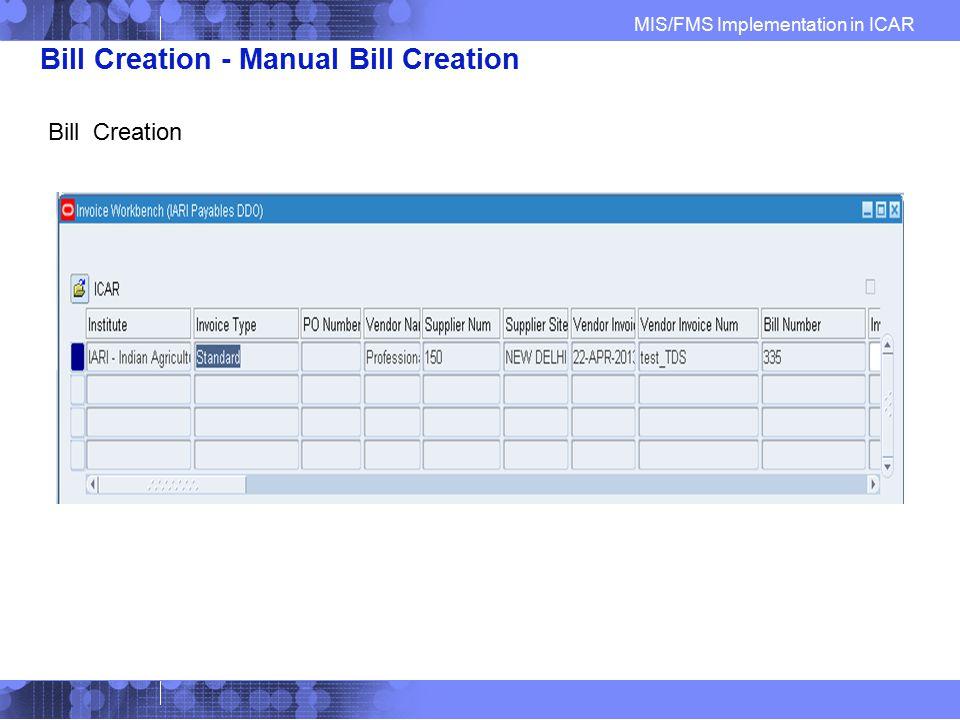 Bill Creation - Manual Bill Creation