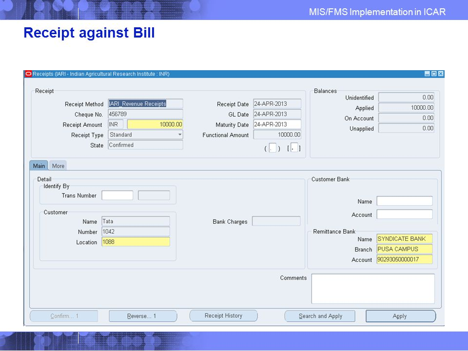 Receipt against Bill