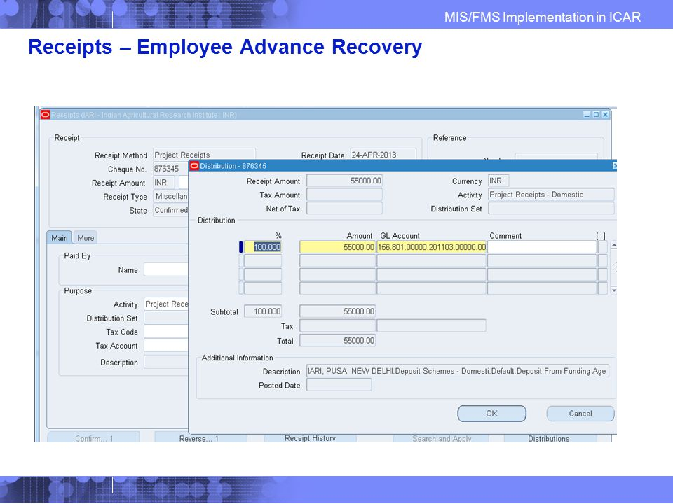 Receipts – Employee Advance Recovery