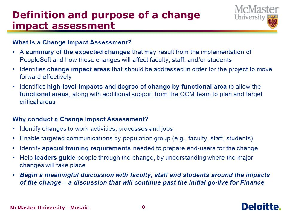 The approach to gather change impacts for Finance and Research Finance
