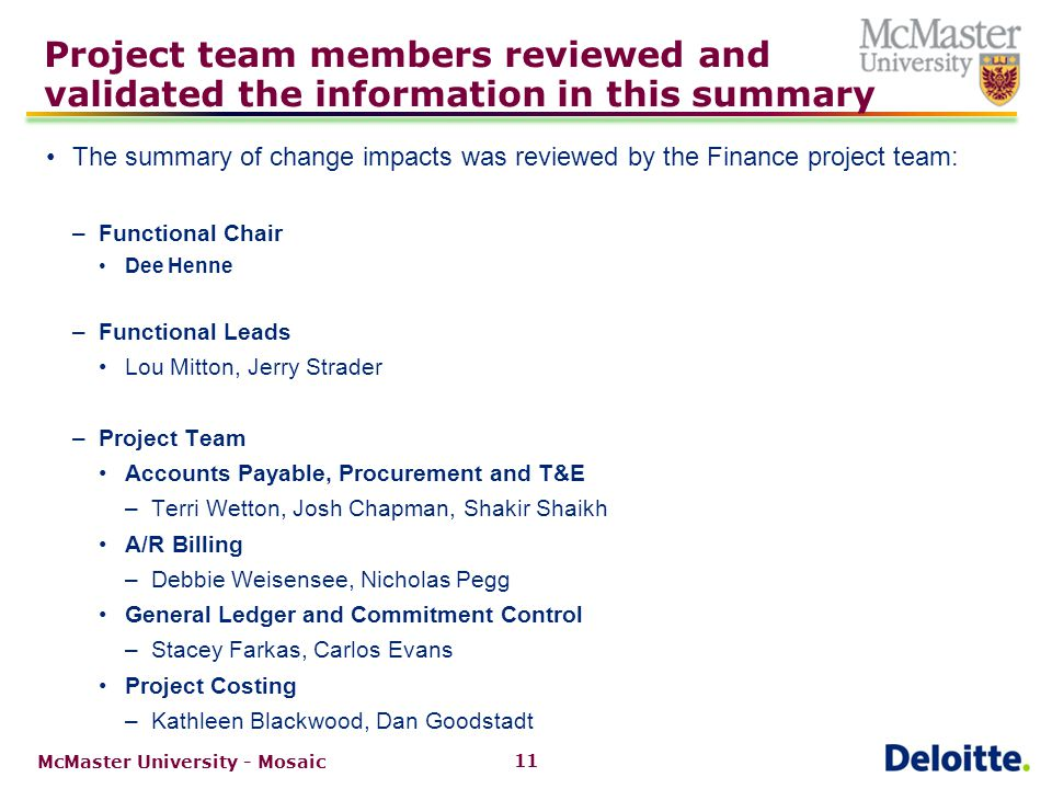 Review of impacted work streams in Finance and Research Finance