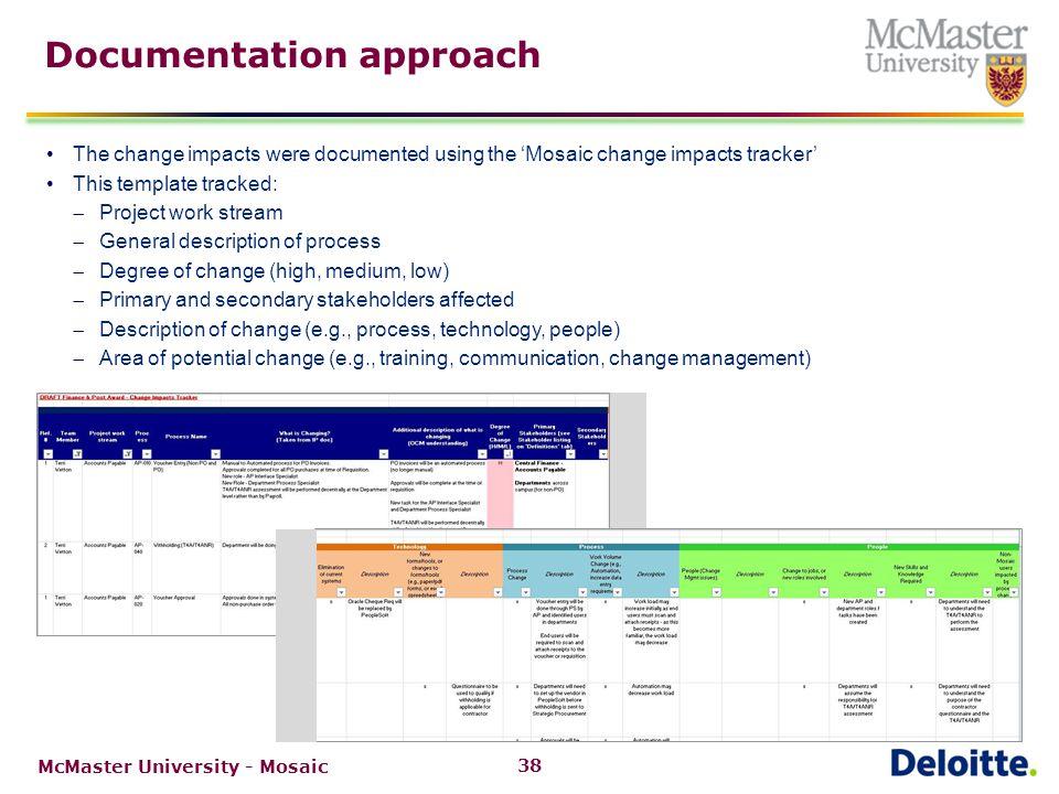 Primary change impact categories