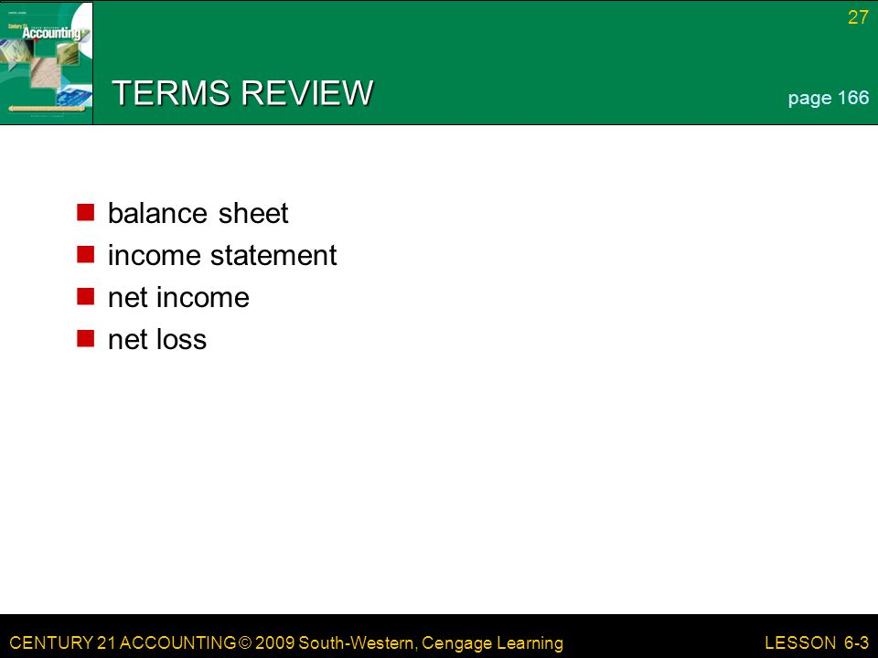 TERMS REVIEW balance sheet income statement net income net loss