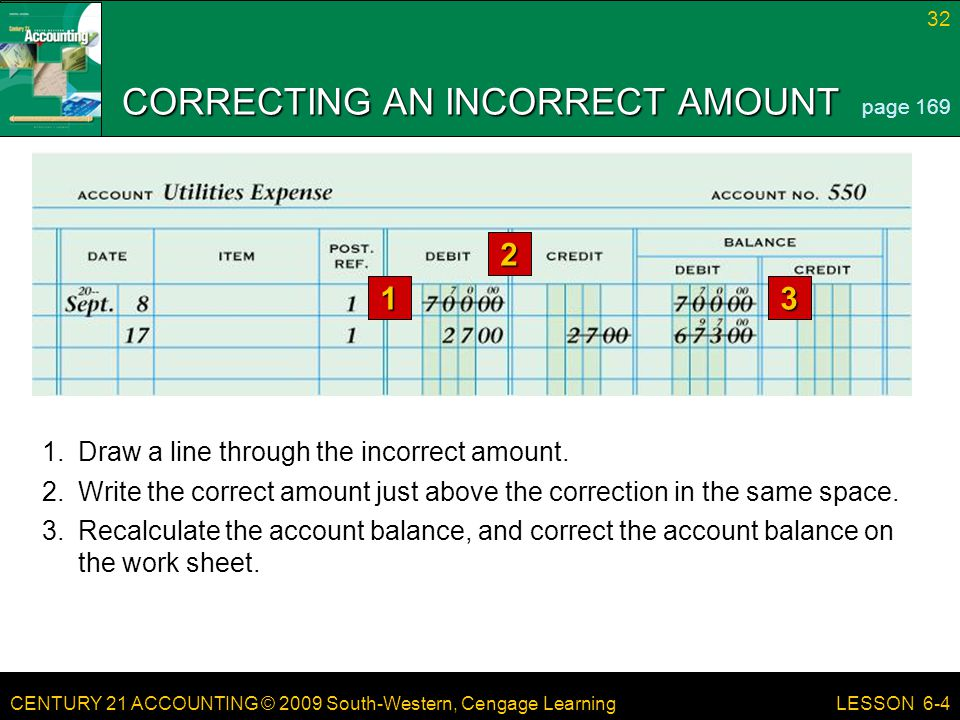 CORRECTING AN INCORRECT AMOUNT