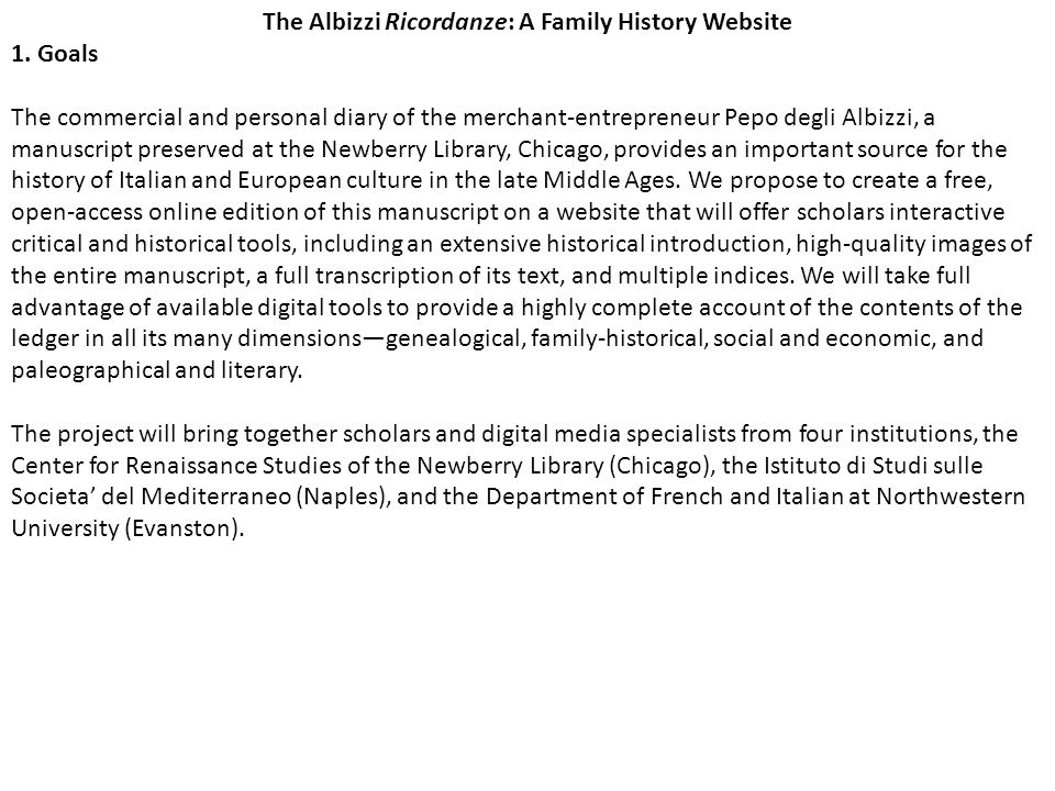 The Albizzi Ricordanze: A Family History Website