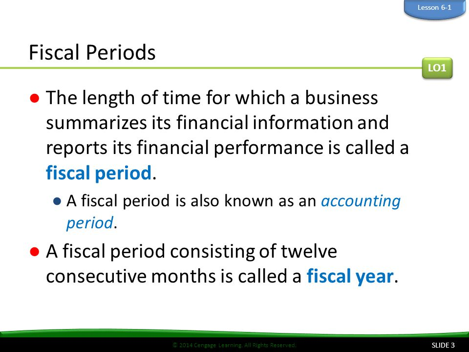Lesson 6-1 Fiscal Periods. LO1.