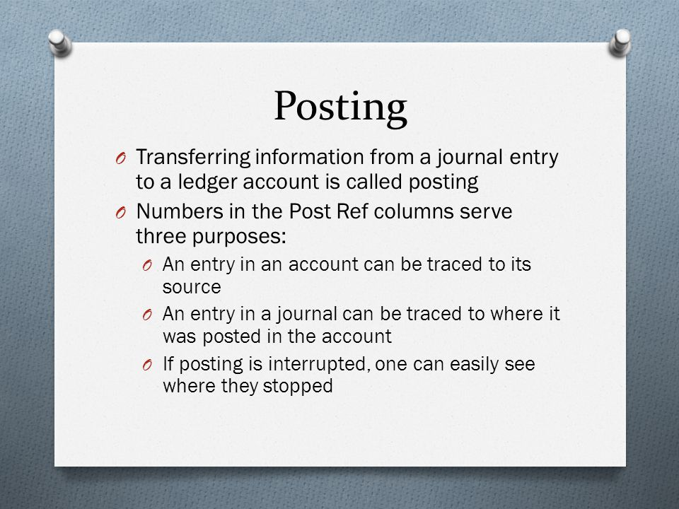Posting Transferring information from a journal entry to a ledger account is called posting. Numbers in the Post Ref columns serve three purposes: