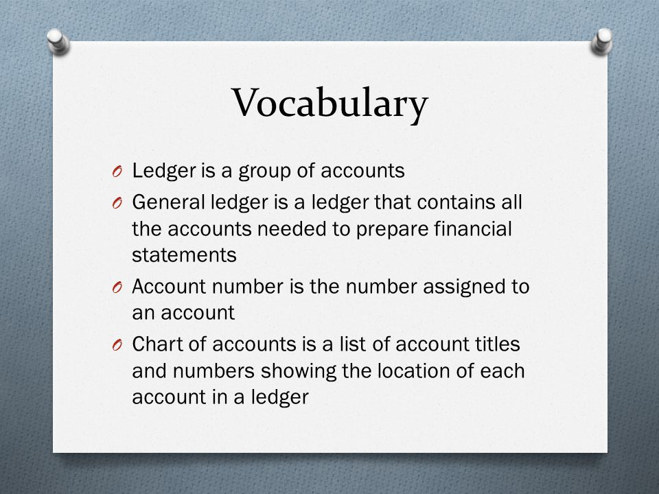 Vocabulary Ledger is a group of accounts
