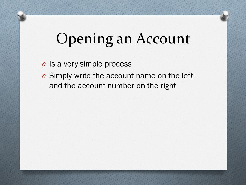 Opening an Account Is a very simple process