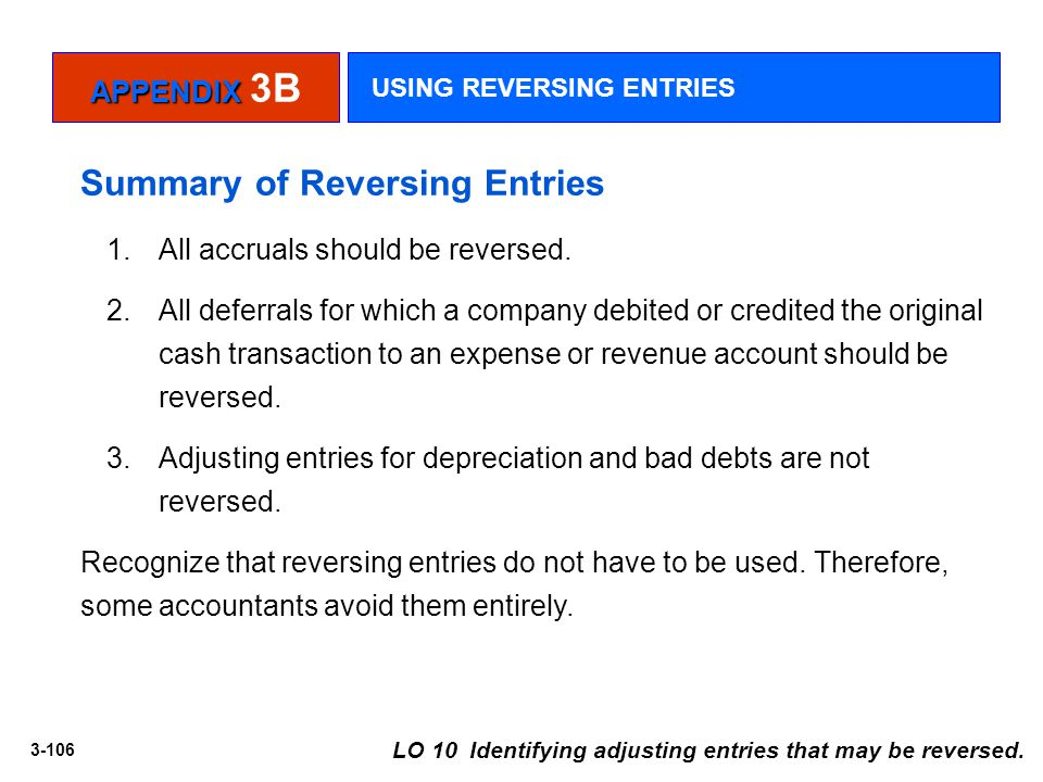 Summary of Reversing Entries