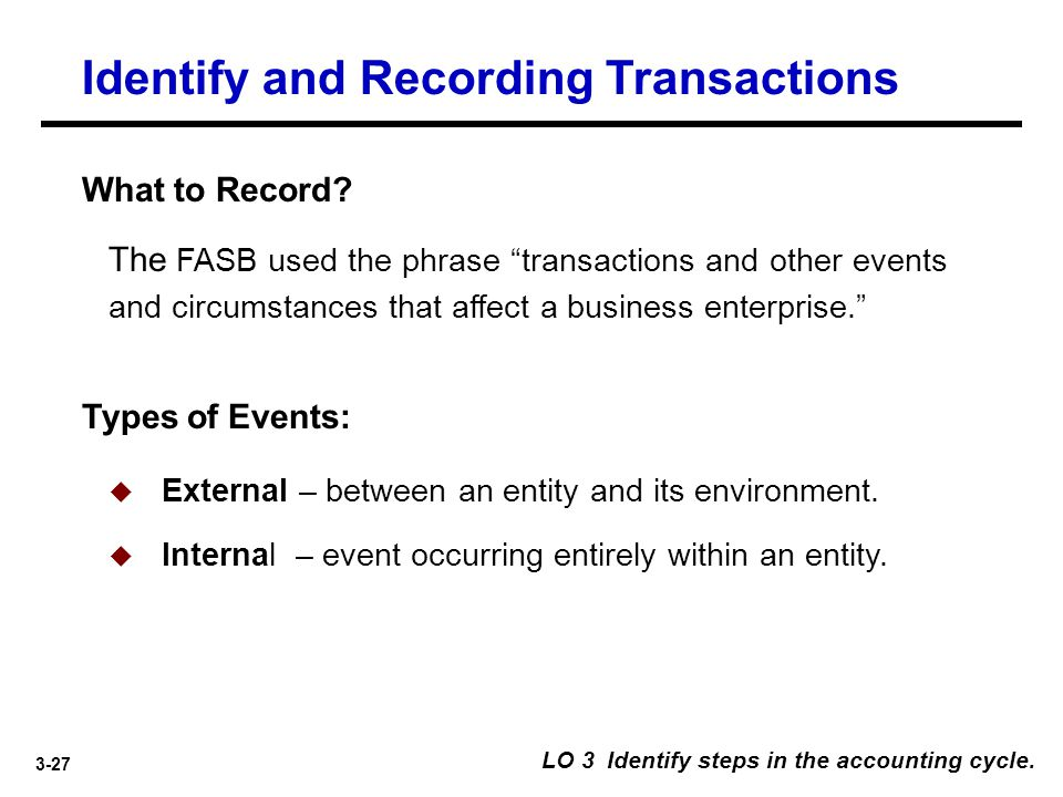 Identify and Recording Transactions
