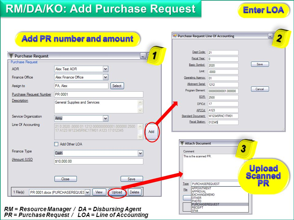 RM/DA/KO: Add Purchase Request Add PR number and amount