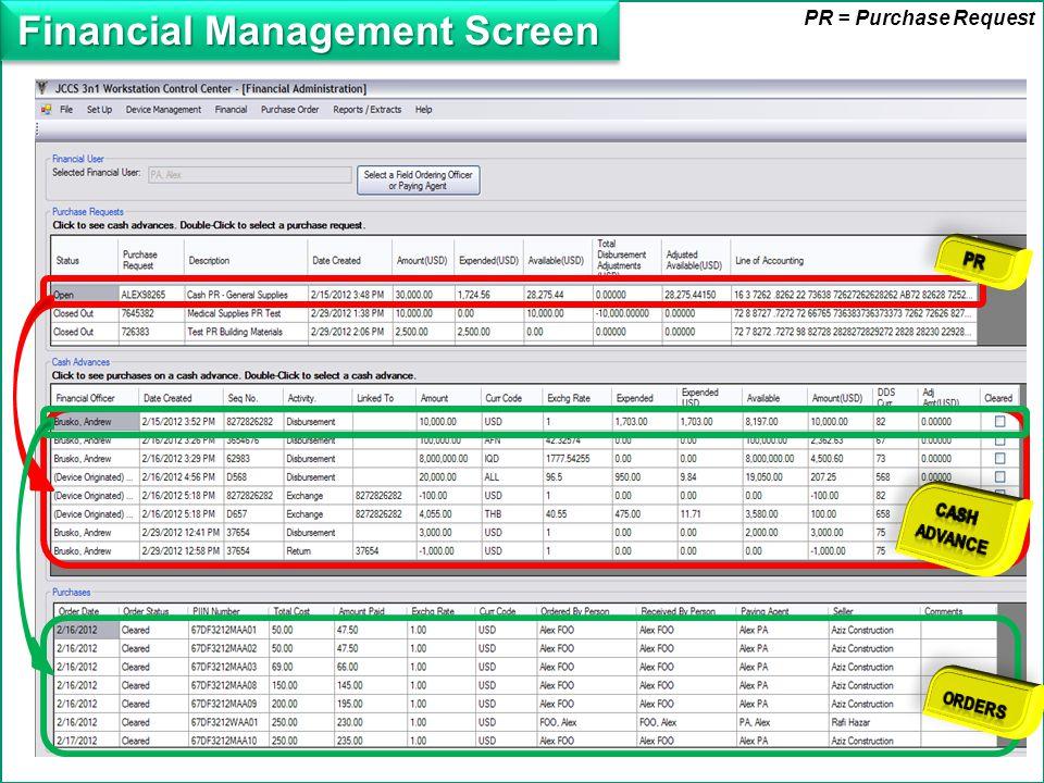Financial Management Screen