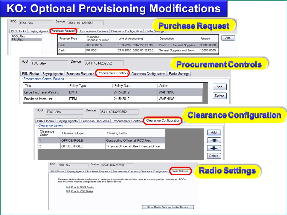 KO: Optional Provisioning Modifications Clearance Configuration