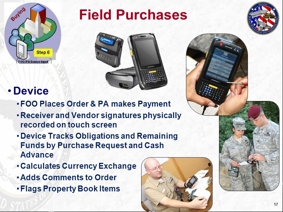 Field Purchases Device FOO Places Order & PA makes Payment