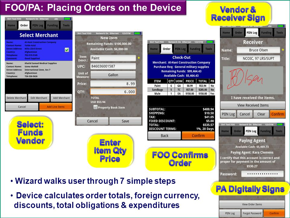 FOO/PA: Placing Orders on the Device