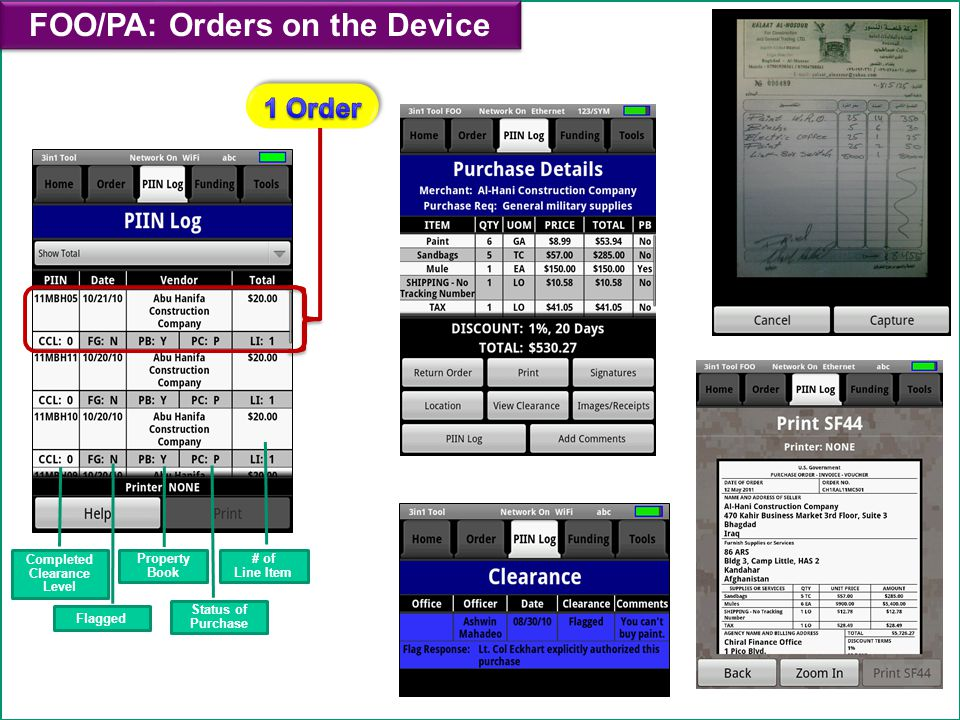 FOO/PA: Orders on the Device Completed Clearance Level