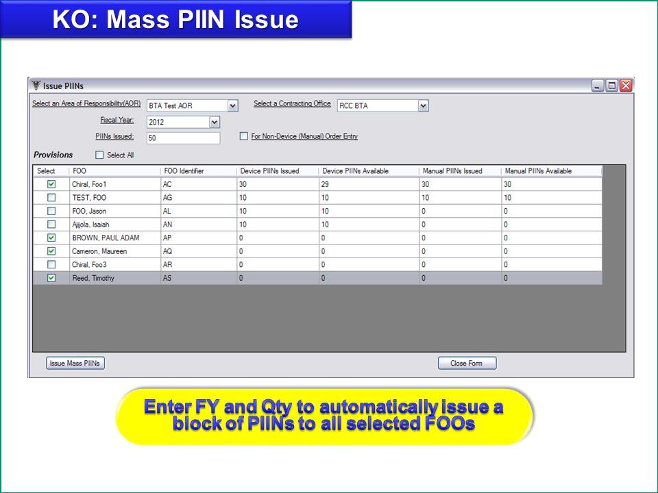 Add KO: Mass PIIN Issue.
