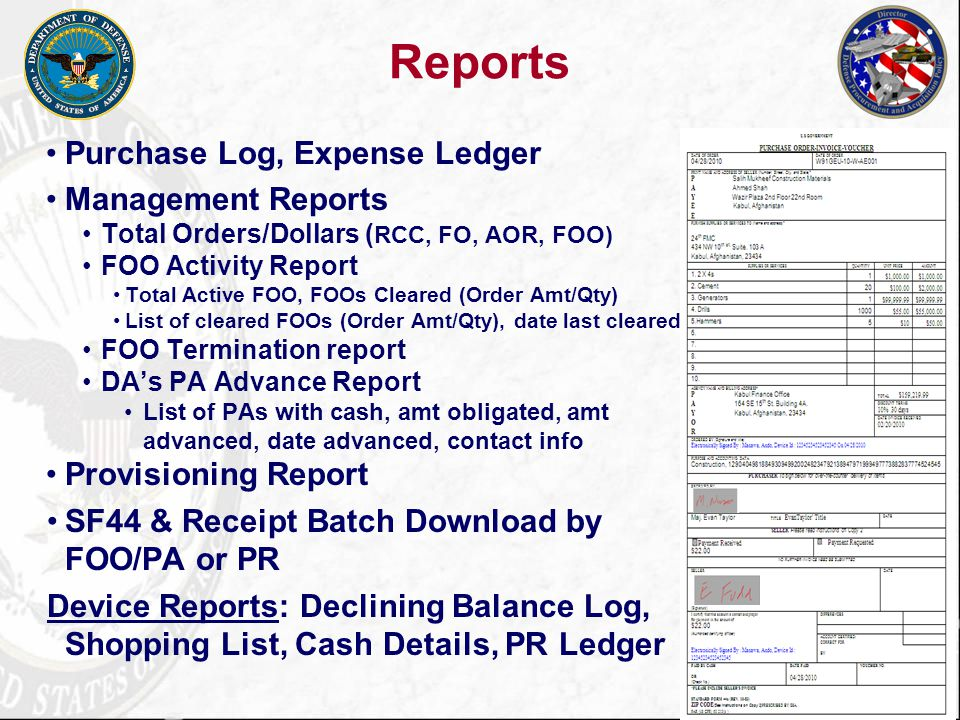 Reports Purchase Log, Expense Ledger Management Reports