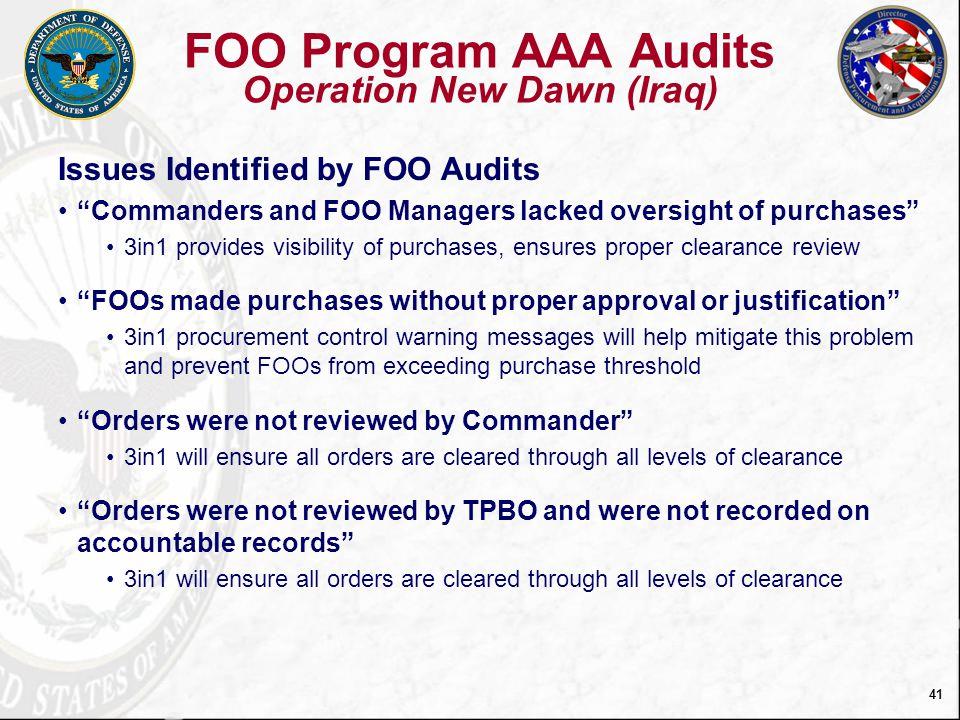 FOO Program AAA Audits Operation New Dawn (Iraq)
