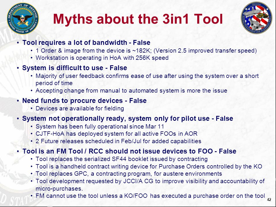 Myths about the 3in1 Tool Tool requires a lot of bandwidth - False