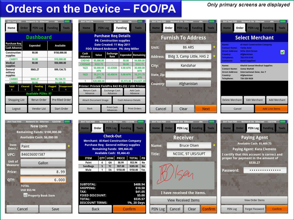 Orders on the Device – FOO/PA