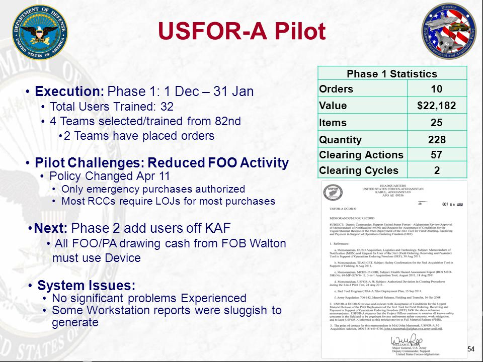 USFOR-A Pilot Execution: Phase 1: 1 Dec – 31 Jan