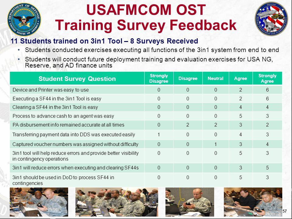 USAFMCOM OST Training Survey Feedback