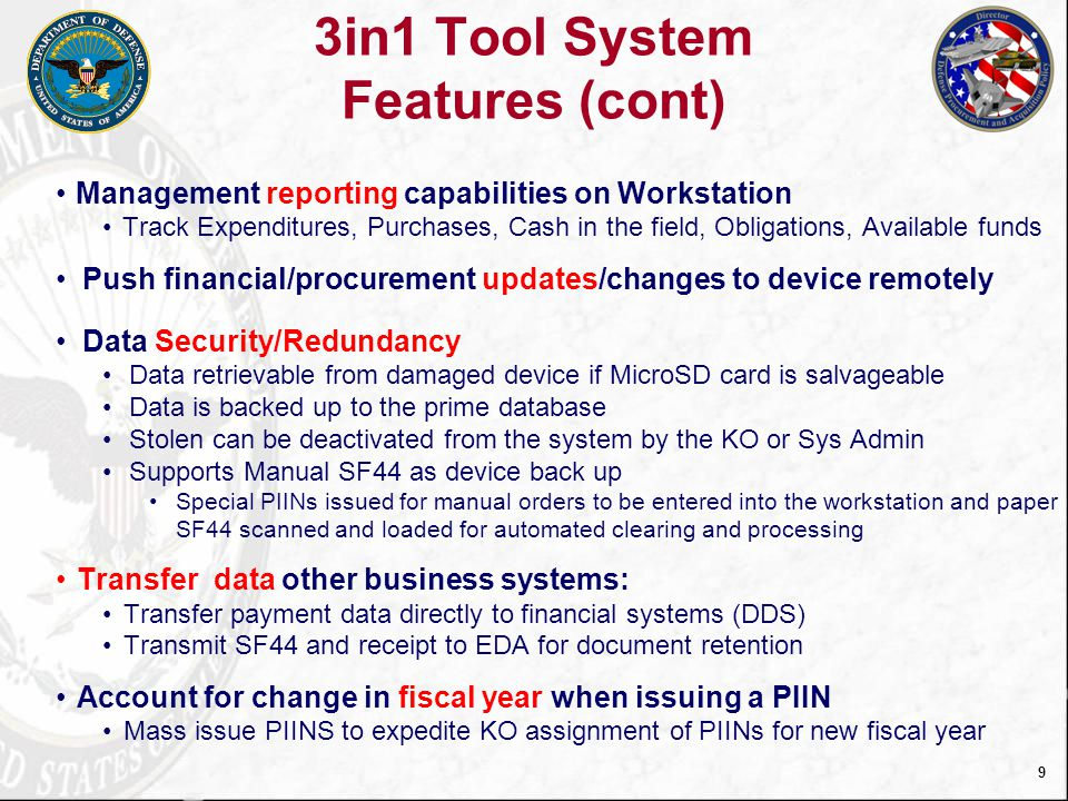 3in1 Tool System Features (cont)