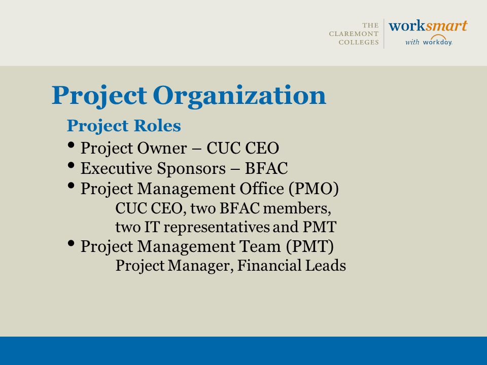Project Organization Project Roles Project Owner – CUC CEO