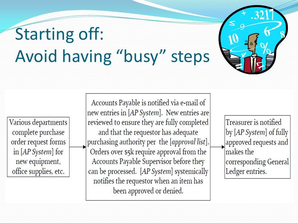Starting off: Avoid having busy steps