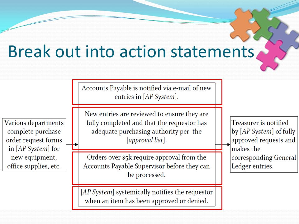 Break out into action statements