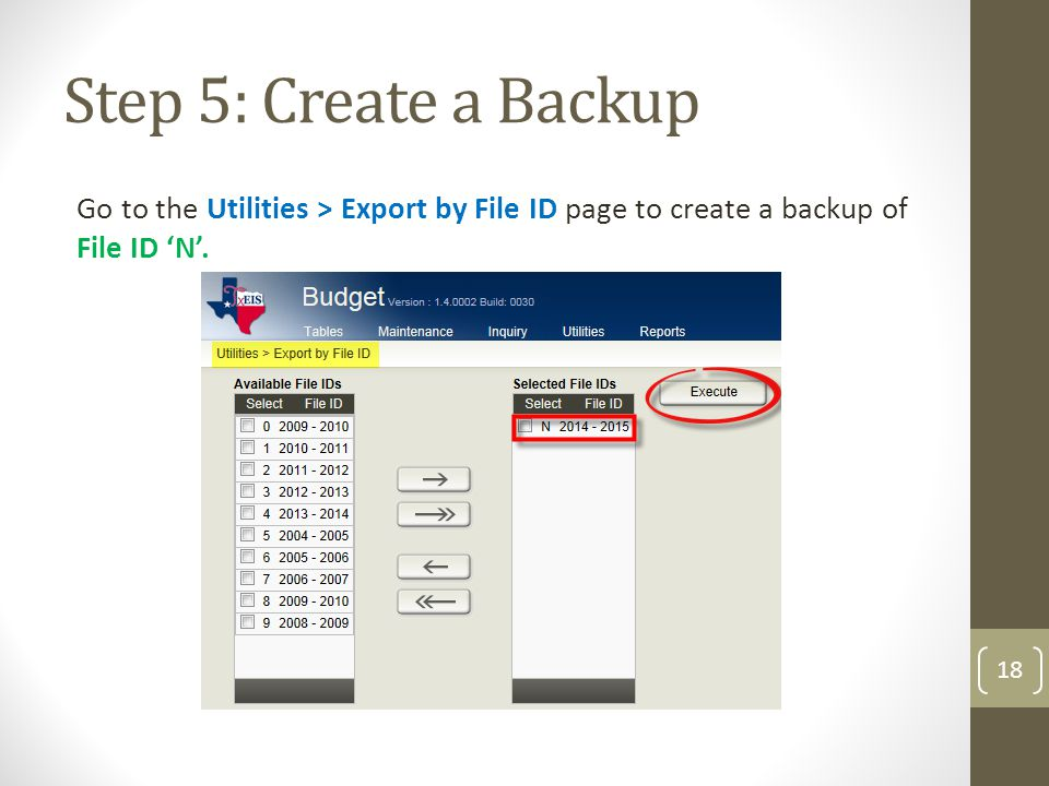 Step 5: Create a Backup Go to the Utilities > Export by File ID page to create a backup of File ID 'N'.