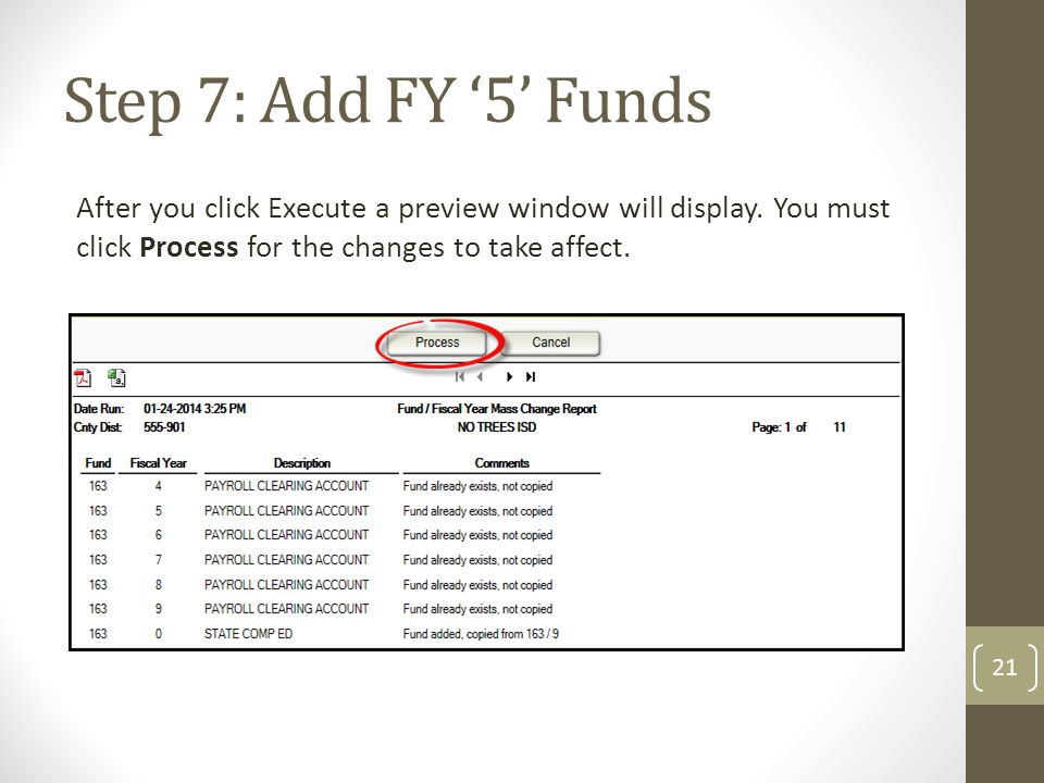 Step 7: Add FY '5' Funds After you click Execute a preview window will display. You must click Process for the changes to take affect.