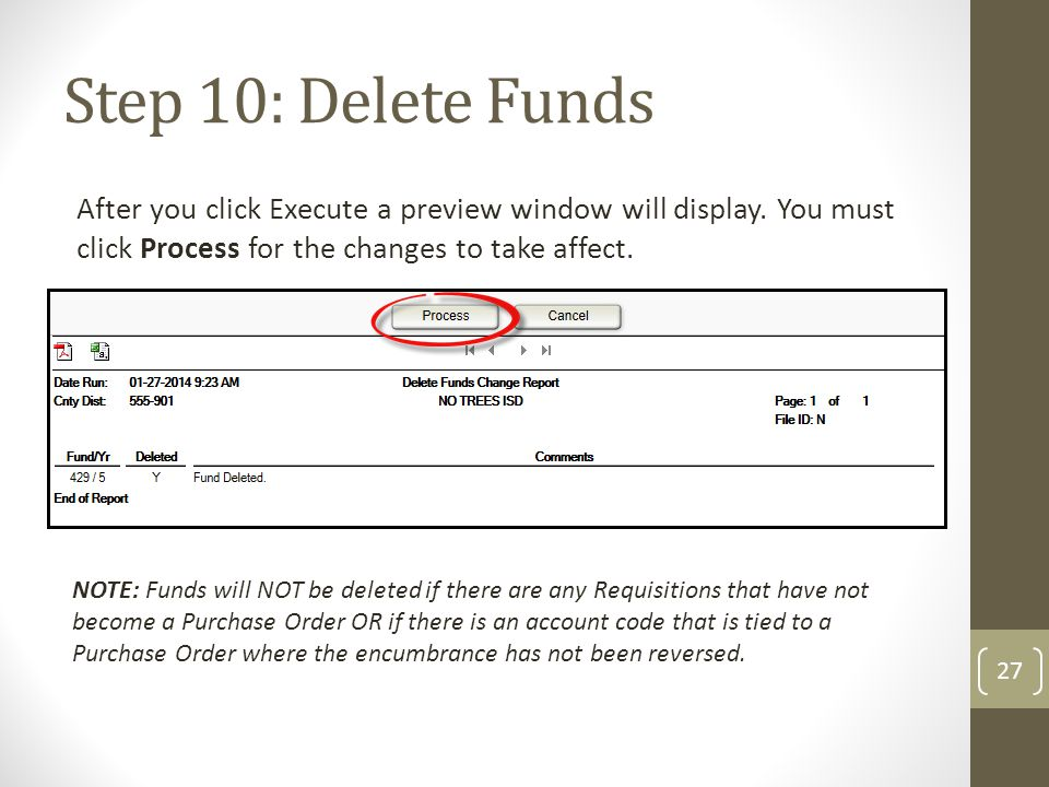Step 10: Delete Funds After you click Execute a preview window will display. You must click Process for the changes to take affect.