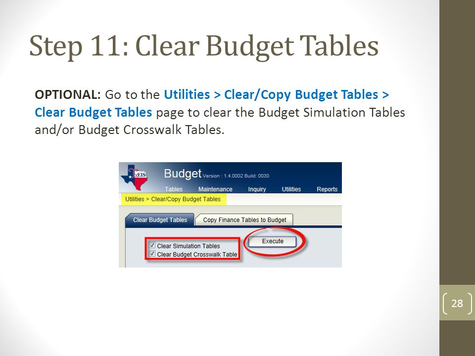 Step 11: Clear Budget Tables