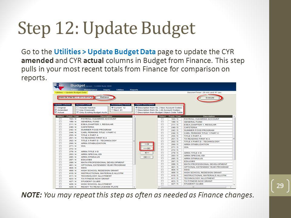 Step 12: Update Budget