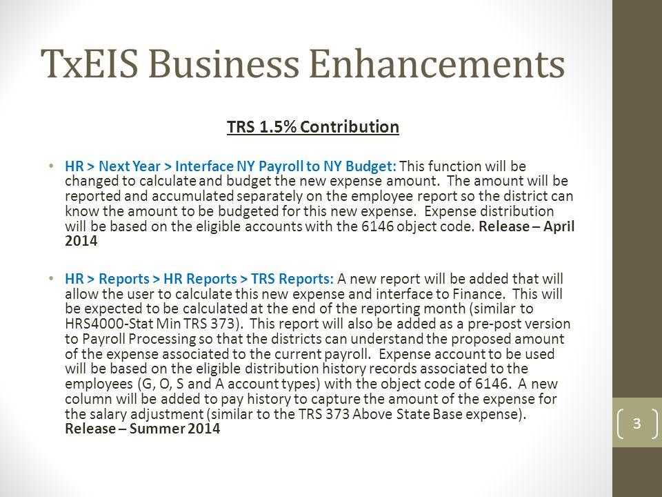 TxEIS Business Enhancements