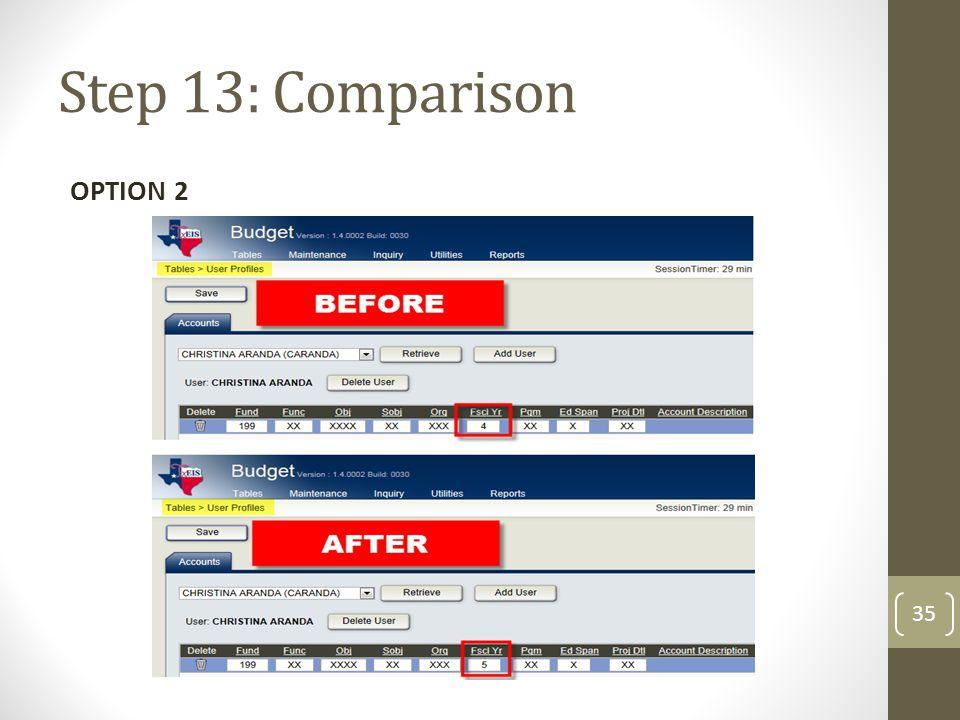 Step 13: Comparison OPTION 2