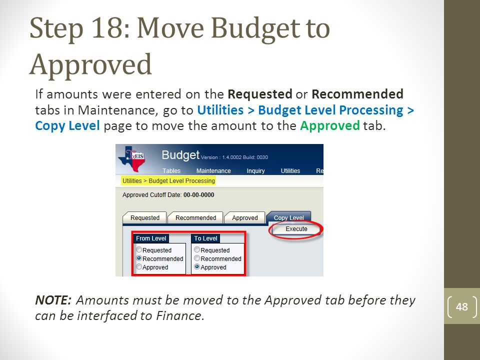 Step 18: Move Budget to Approved