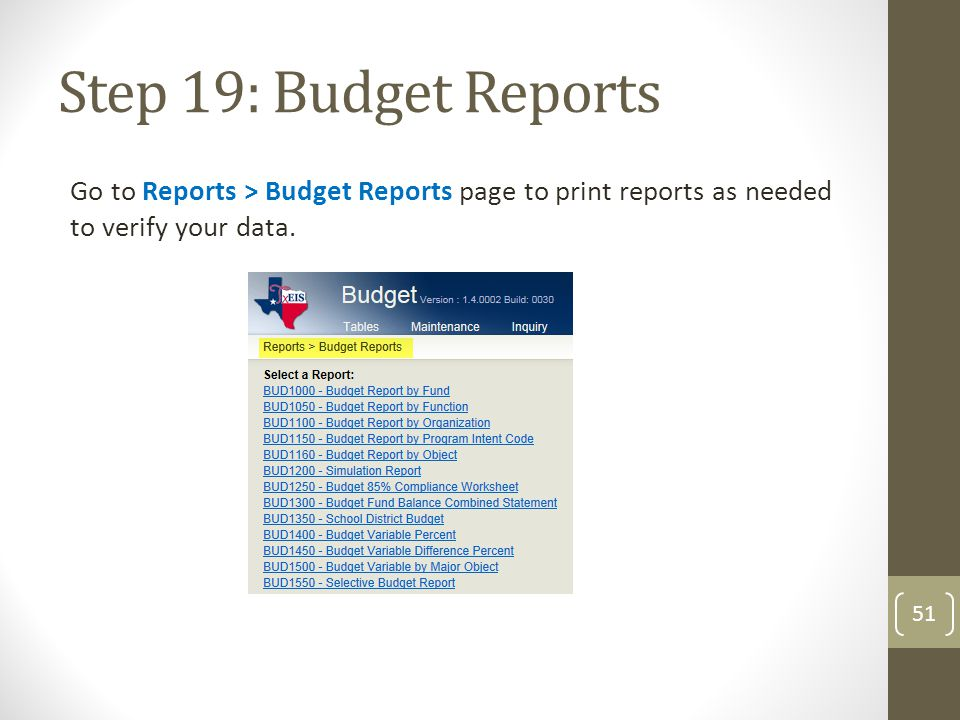 Step 19: Budget Reports Go to Reports > Budget Reports page to print reports as needed to verify your data.