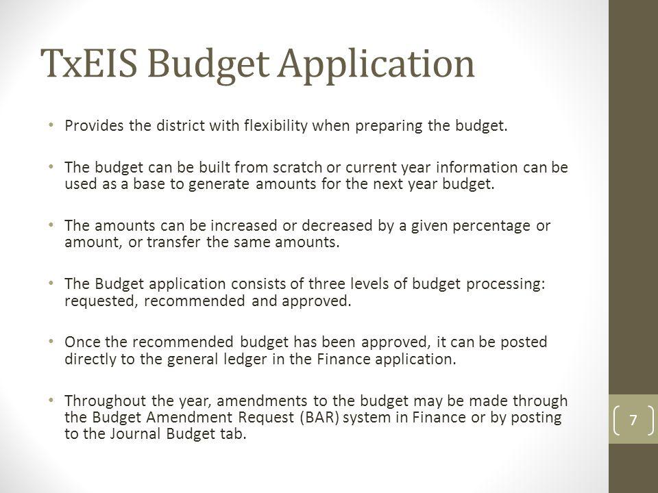TxEIS Budget Application